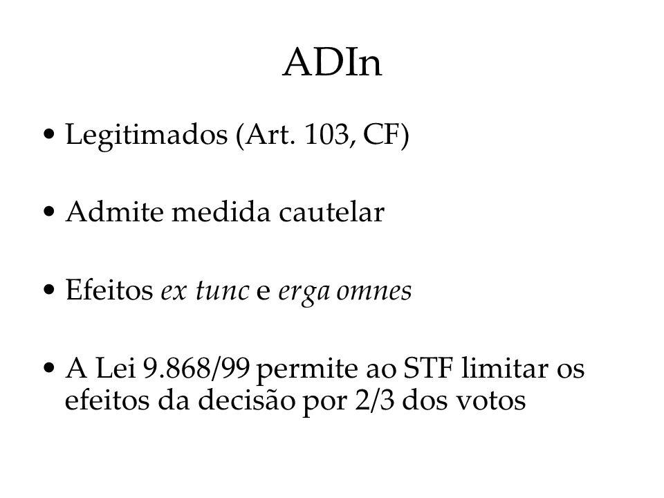 ADIn Legitimados (Art. 103, CF) Admite medida cautelar Efeitos ex tunc e erga omnes A Lei 9.868/99 permite ao STF limitar os efeitos da decisão por 2/