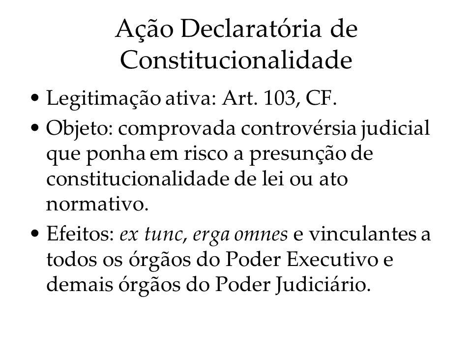 Ação Declaratória de Constitucionalidade Legitimação ativa: Art. 103, CF. Objeto: comprovada controvérsia judicial que ponha em risco a presunção de c