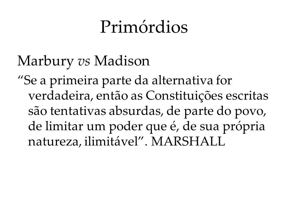 Primórdios Marbury vs Madison Se a primeira parte da alternativa for verdadeira, então as Constituições escritas são tentativas absurdas, de parte do
