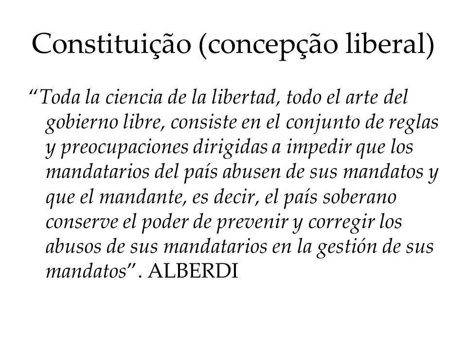 Constituição (concepção liberal) Toda la ciencia de la libertad, todo el arte del gobierno libre, consiste en el conjunto de reglas y preocupaciones d