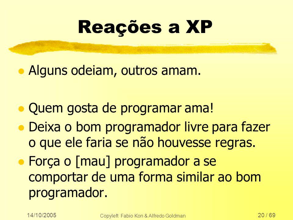 14/10/2005 Copyleft Fabio Kon & Alfredo Goldman 20 / 69 Reações a XP l Alguns odeiam, outros amam. l Quem gosta de programar ama! l Deixa o bom progra