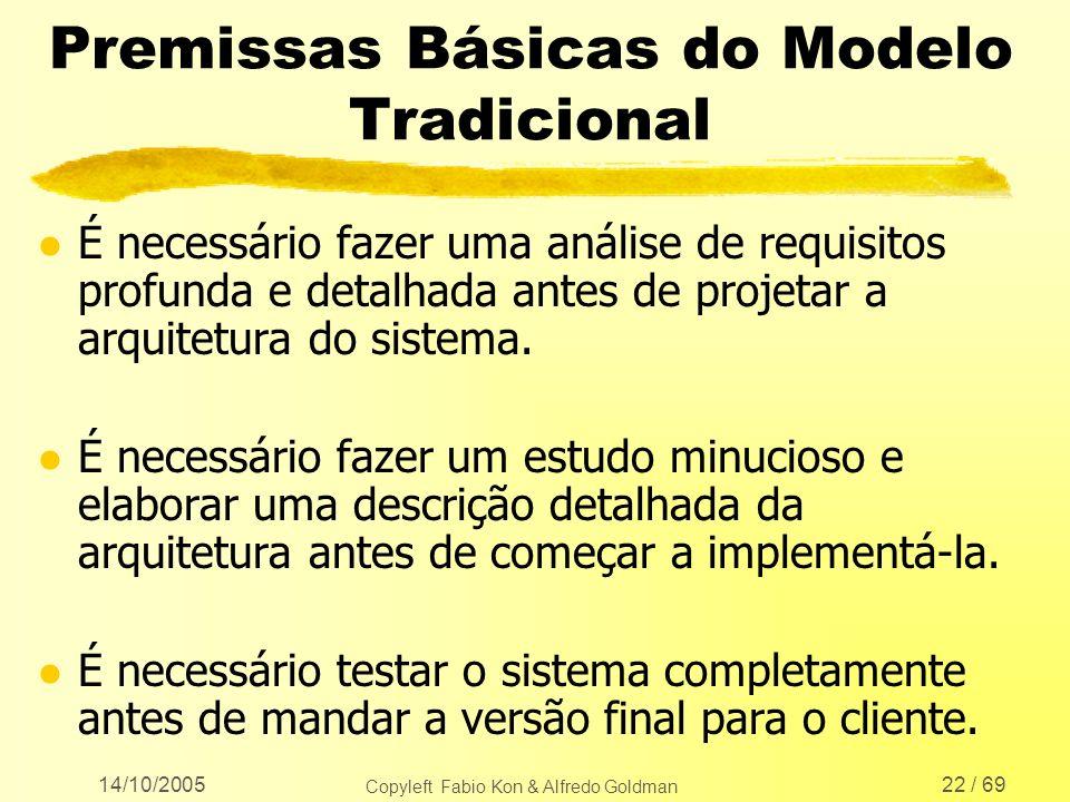 14/10/2005 Copyleft Fabio Kon & Alfredo Goldman 22 / 69 Premissas Básicas do Modelo Tradicional l É necessário fazer uma análise de requisitos profund