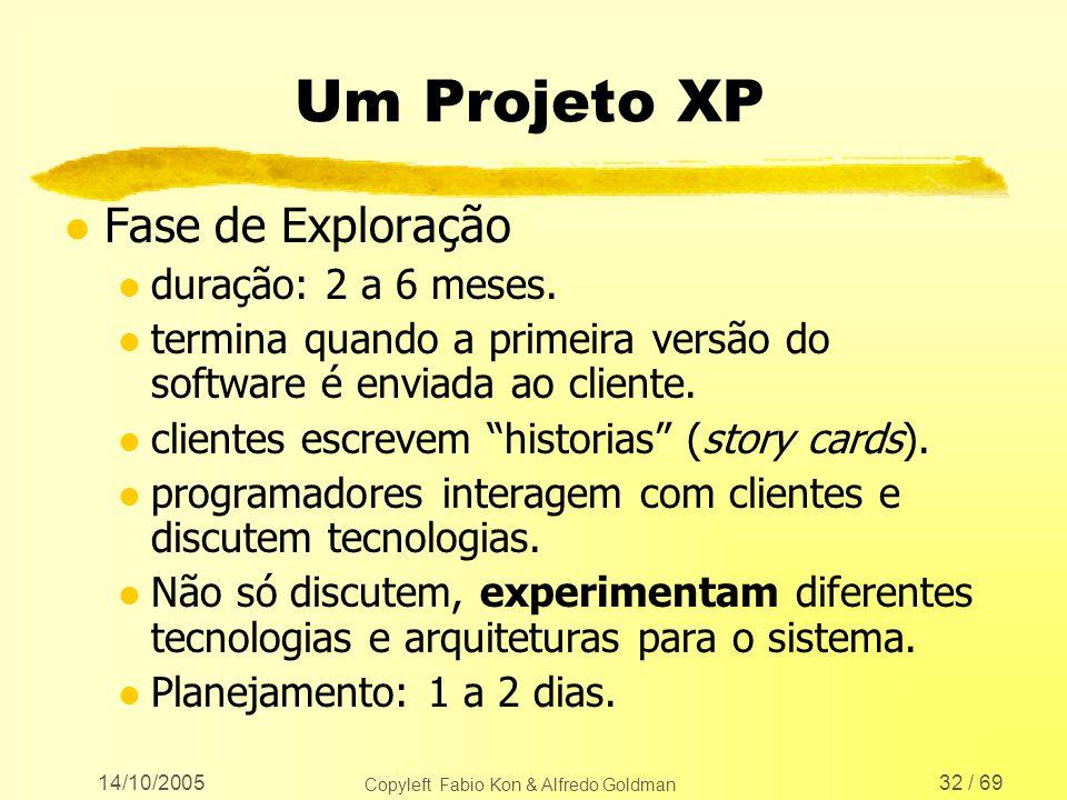 14/10/2005 Copyleft Fabio Kon & Alfredo Goldman 32 / 69 Um Projeto XP l Fase de Exploração l duração: 2 a 6 meses. l termina quando a primeira versão