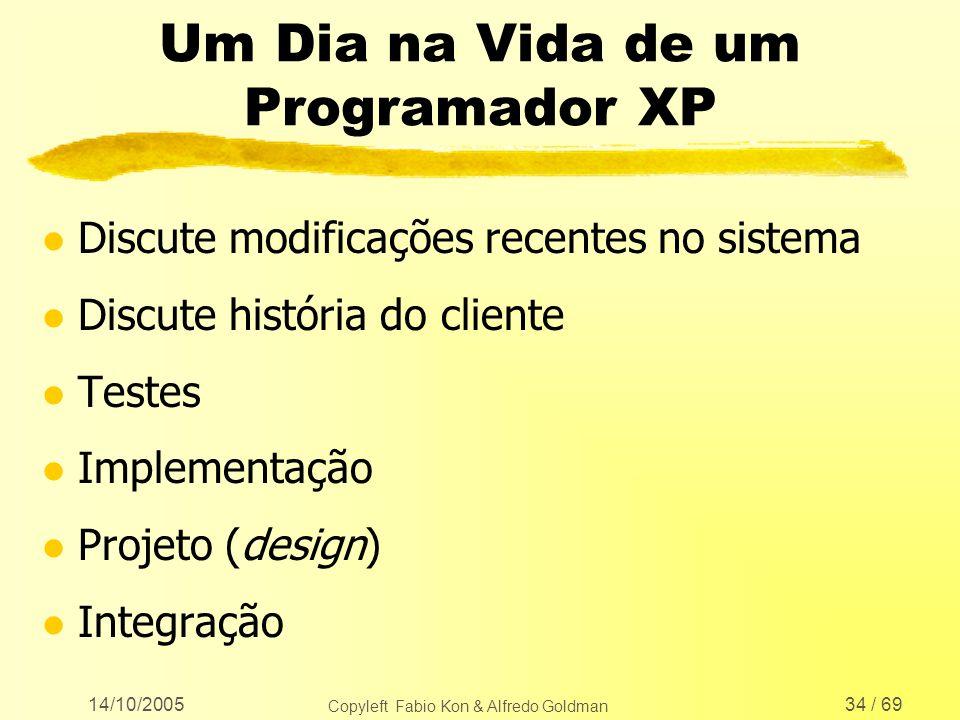 14/10/2005 Copyleft Fabio Kon & Alfredo Goldman 34 / 69 Um Dia na Vida de um Programador XP l Discute modificações recentes no sistema l Discute histó