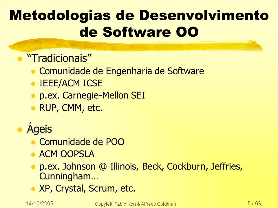 14/10/2005 Copyleft Fabio Kon & Alfredo Goldman 56 / 69 Capacitação Módulo 2 l Introdução aos métodos ágeis l Com ênfase em XP l Testes automatizados l JUnit e JWebUnit l Refatoração l Estilos de Código l Interfaces WEB (JSP/Servlets) l Mini-projeto real (sistema de crachás)
