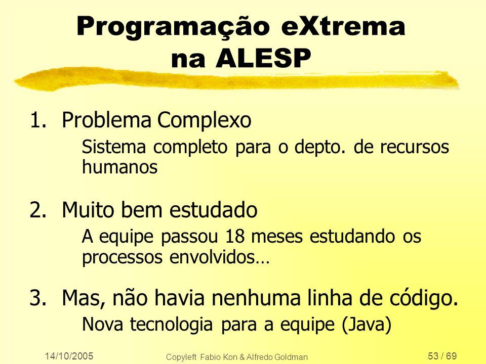 14/10/2005 Copyleft Fabio Kon & Alfredo Goldman 53 / 69 Programação eXtrema na ALESP 1.Problema Complexo Sistema completo para o depto. de recursos hu