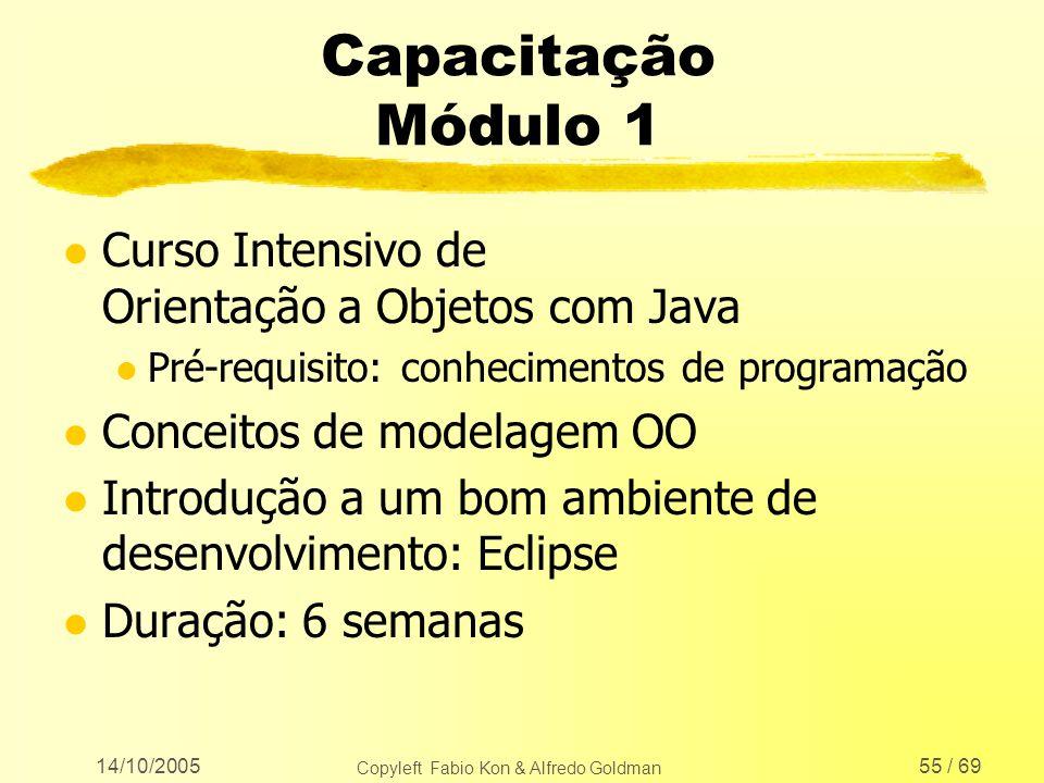 14/10/2005 Copyleft Fabio Kon & Alfredo Goldman 55 / 69 Capacitação Módulo 1 l Curso Intensivo de Orientação a Objetos com Java l Pré-requisito: conhe