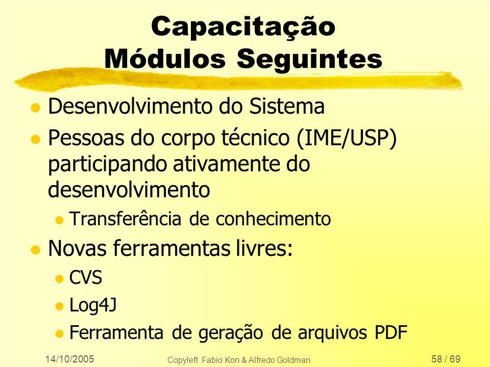 14/10/2005 Copyleft Fabio Kon & Alfredo Goldman 58 / 69 Capacitação Módulos Seguintes l Desenvolvimento do Sistema l Pessoas do corpo técnico (IME/USP