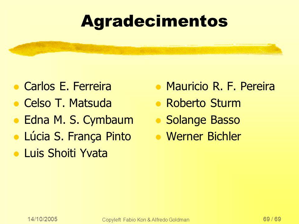 14/10/2005 Copyleft Fabio Kon & Alfredo Goldman 69 / 69 Agradecimentos l Carlos E. Ferreira l Celso T. Matsuda l Edna M. S. Cymbaum l Lúcia S. França