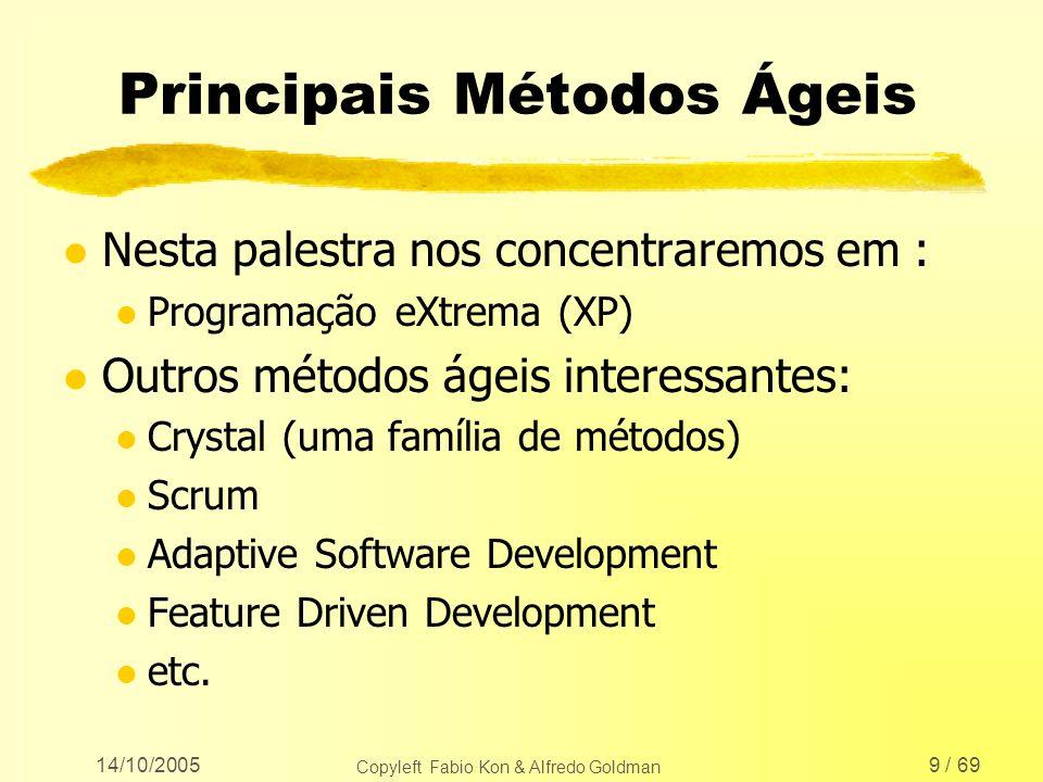 14/10/2005 Copyleft Fabio Kon & Alfredo Goldman 50 / 69 Práticas de XP l As práticas foram refatoradas (veja www.extremeprogramming.org/rules.html) l Mas a idéia é exatamente a mesma l Novas práticas interessantes: Conserte XP quando a metodologia quebrar.