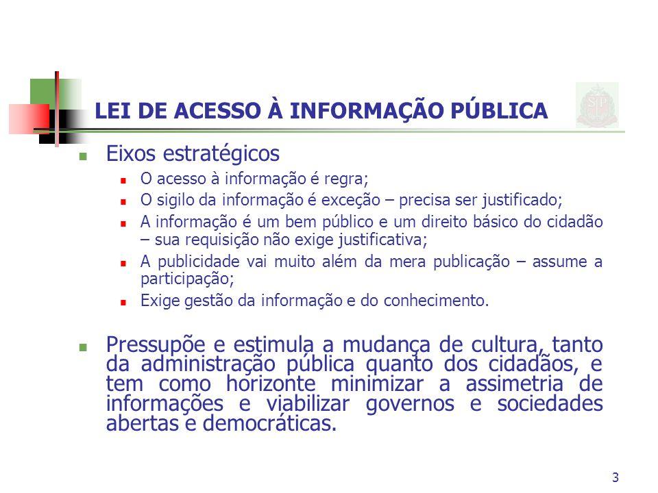3 LEI DE ACESSO À INFORMAÇÃO PÚBLICA Eixos estratégicos O acesso à informação é regra; O sigilo da informação é exceção – precisa ser justificado; A i