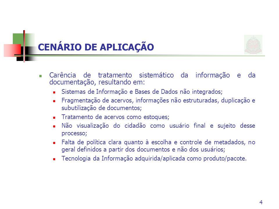 4 CENÁRIO DE APLICAÇÃO Carência de tratamento sistemático da informação e da documentação, resultando em: Sistemas de Informação e Bases de Dados não