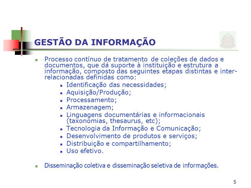 GESTÃO DA INFORMAÇÃO Processo contínuo de tratamento de coleções de dados e documentos, que dá suporte à instituição e estrutura a informação, compost