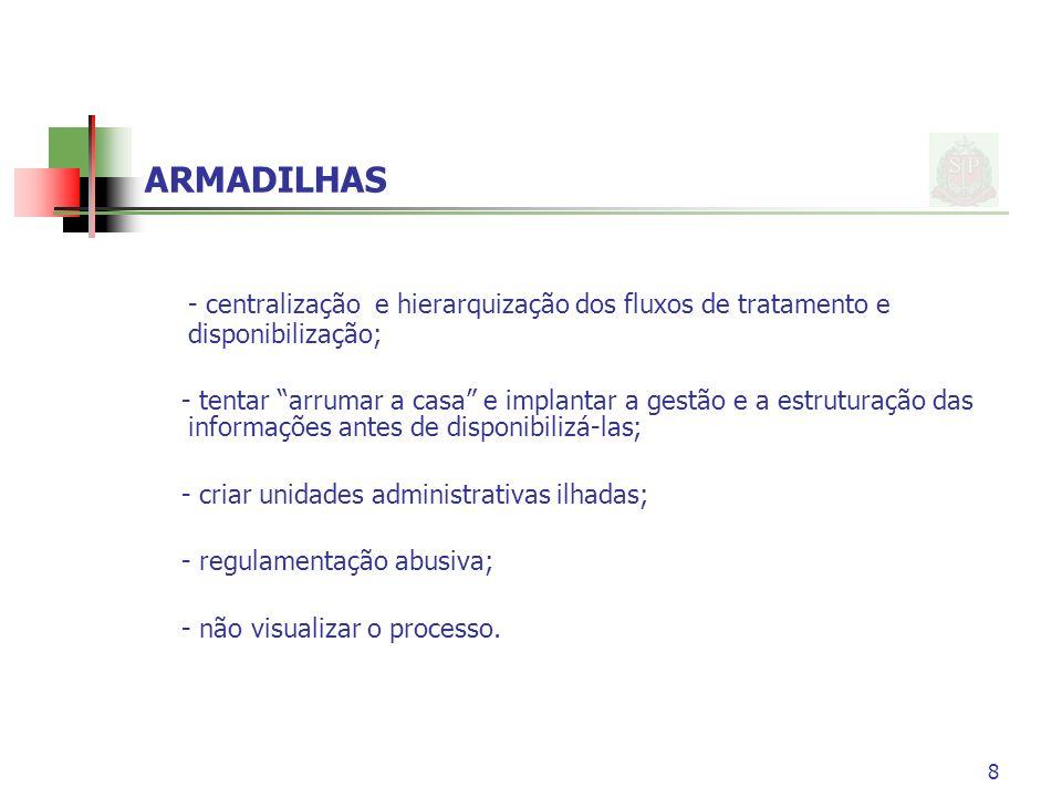 8 ARMADILHAS - centralização e hierarquização dos fluxos de tratamento e disponibilização; - tentar arrumar a casa e implantar a gestão e a estruturaç
