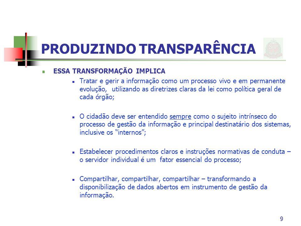 9 PRODUZINDO TRANSPARÊNCIA ESSA TRANSFORMAÇÃO IMPLICA Tratar e gerir a informação como um processo vivo e em permanente evolução, utilizando as diretr
