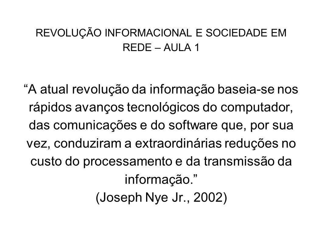 REVOLUÇÃO INFORMACIONAL E SOCIEDADE EM REDE – AULA 1 A atual revolução da informação baseia-se nos rápidos avanços tecnológicos do computador, das com