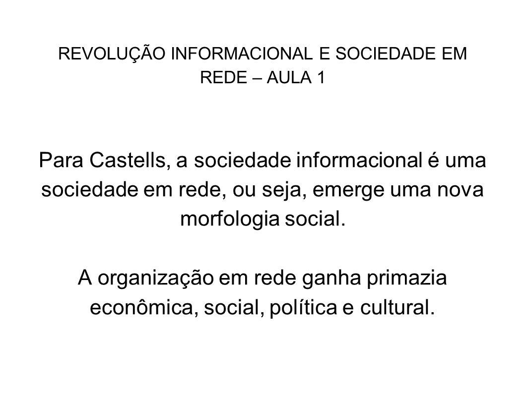 REVOLUÇÃO INFORMACIONAL E SOCIEDADE EM REDE – AULA 1 Para Castells, a sociedade informacional é uma sociedade em rede, ou seja, emerge uma nova morfol