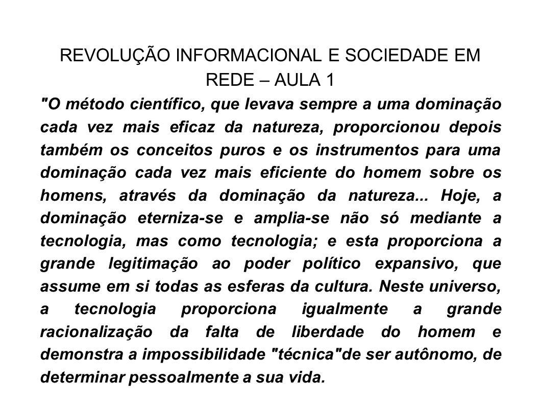REVOLUÇÃO INFORMACIONAL E SOCIEDADE EM REDE – AULA 1
