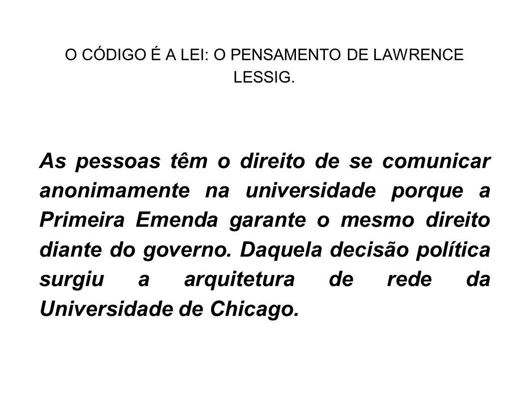 O CÓDIGO É A LEI: O PENSAMENTO DE LAWRENCE LESSIG. As pessoas têm o direito de se comunicar anonimamente na universidade porque a Primeira Emenda gara