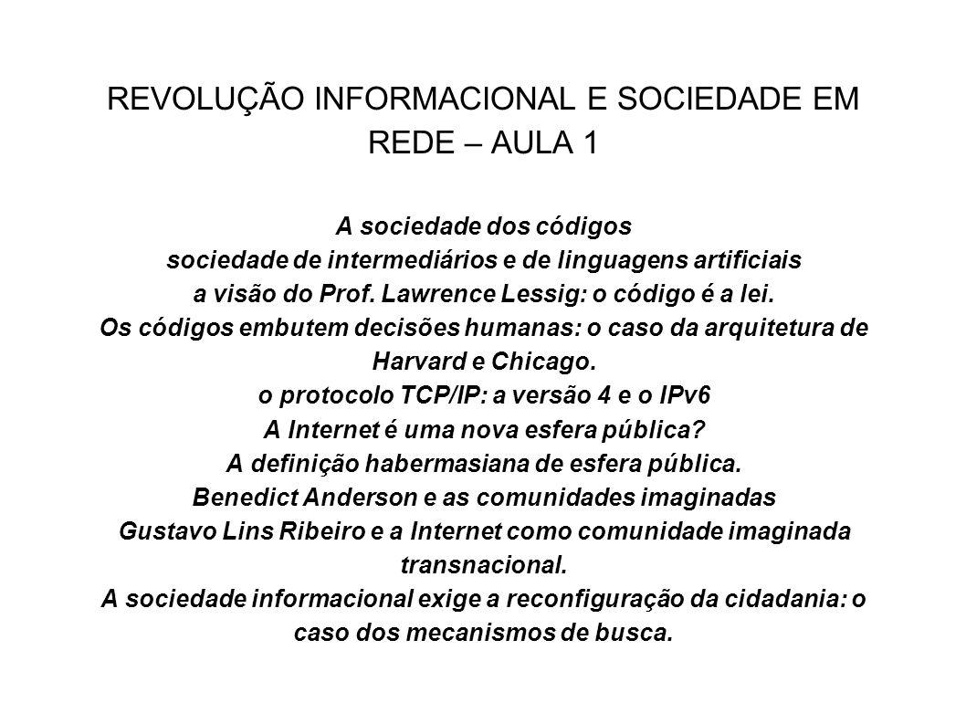 REVOLUÇÃO INFORMACIONAL E SOCIEDADE EM REDE – AULA 1 A sociedade dos códigos sociedade de intermediários e de linguagens artificiais a visão do Prof.