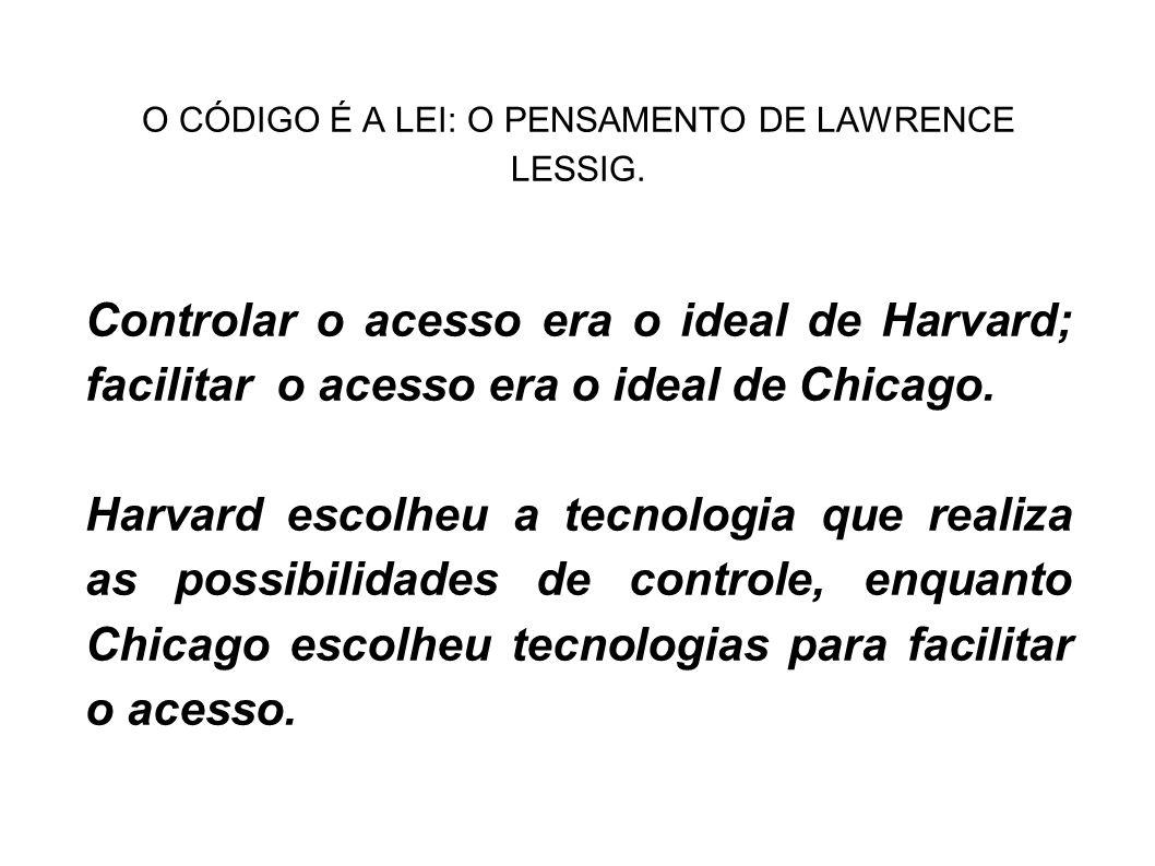 O CÓDIGO É A LEI: O PENSAMENTO DE LAWRENCE LESSIG. Controlar o acesso era o ideal de Harvard; facilitar o acesso era o ideal de Chicago. Harvard escol