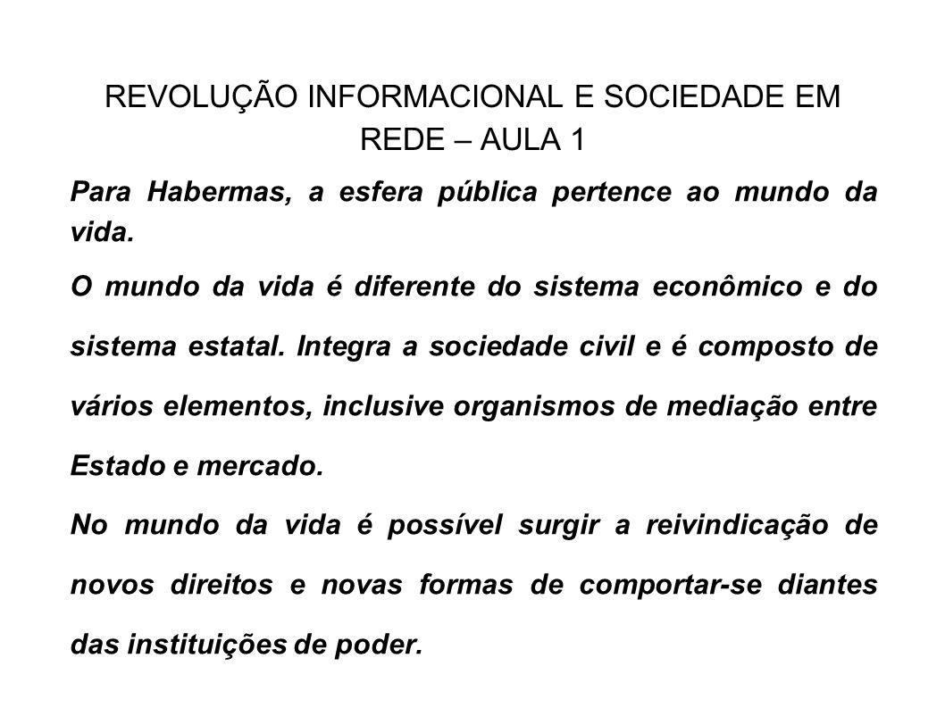 REVOLUÇÃO INFORMACIONAL E SOCIEDADE EM REDE – AULA 1 Para Habermas, a esfera pública pertence ao mundo da vida. O mundo da vida é diferente do sistema