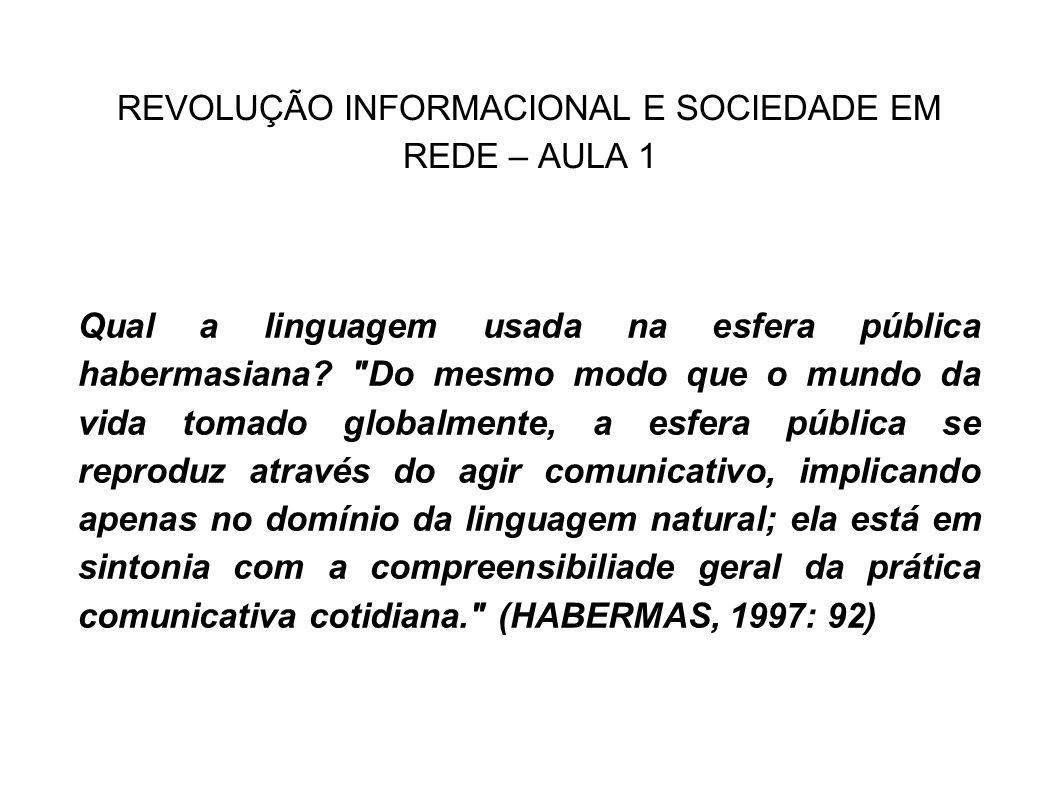 REVOLUÇÃO INFORMACIONAL E SOCIEDADE EM REDE – AULA 1 Qual a linguagem usada na esfera pública habermasiana?