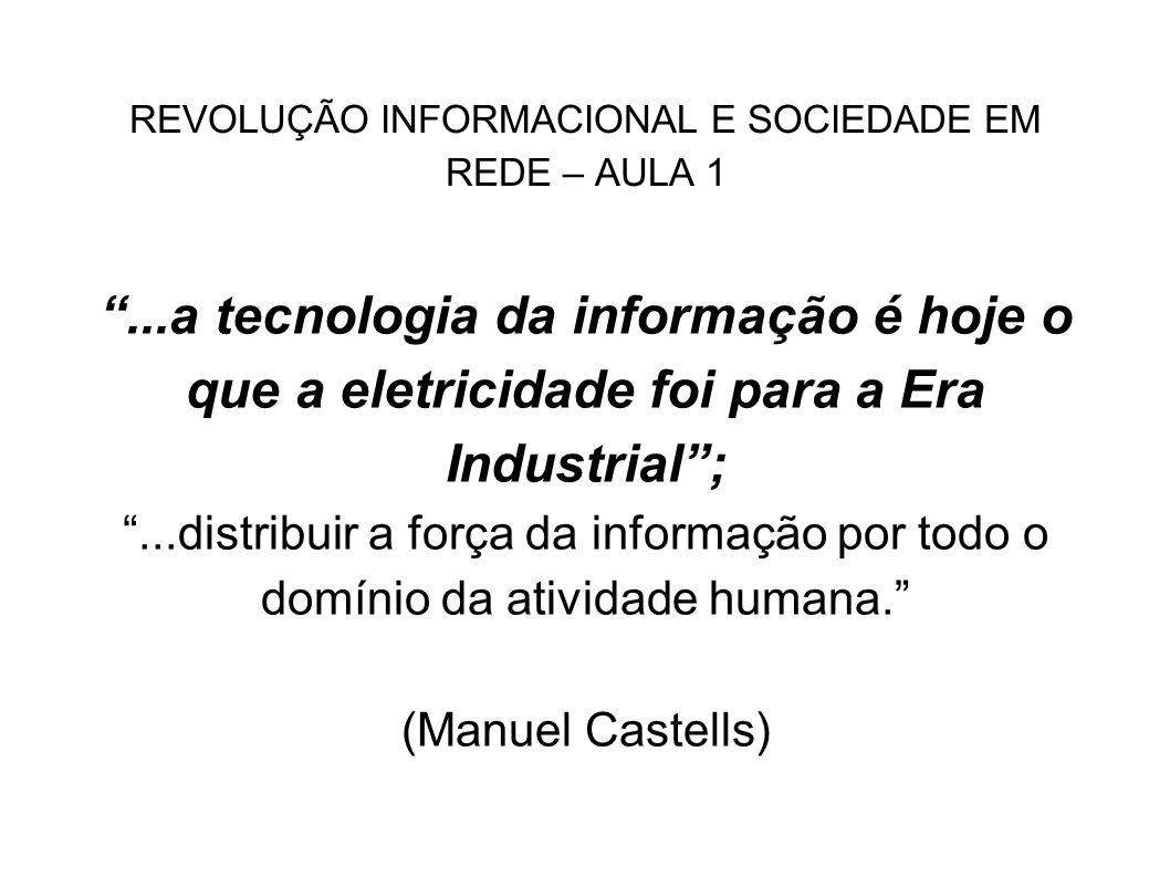 REVOLUÇÃO INFORMACIONAL E SOCIEDADE EM REDE – AULA 1 a visão weberiana a visão de Marcuse a abordagem de Castells e de Pierre Lévy