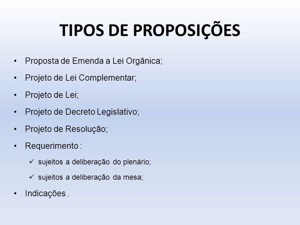 TIPOS DE PROPOSIÇÕES Proposta de Emenda a Lei Orgânica; Projeto de Lei Complementar; Projeto de Lei; Projeto de Decreto Legislativo; Projeto de Resolu