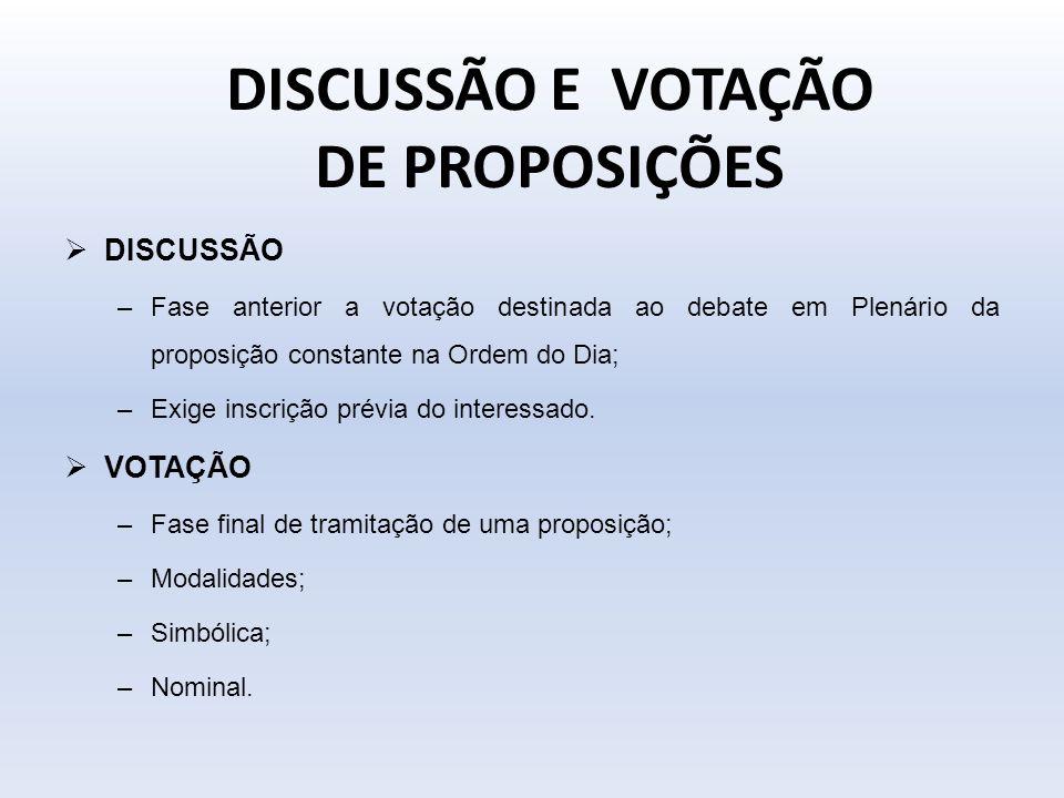 DISCUSSÃO E VOTAÇÃO DE PROPOSIÇÕES DISCUSSÃO –Fase anterior a votação destinada ao debate em Plenário da proposição constante na Ordem do Dia; –Exige
