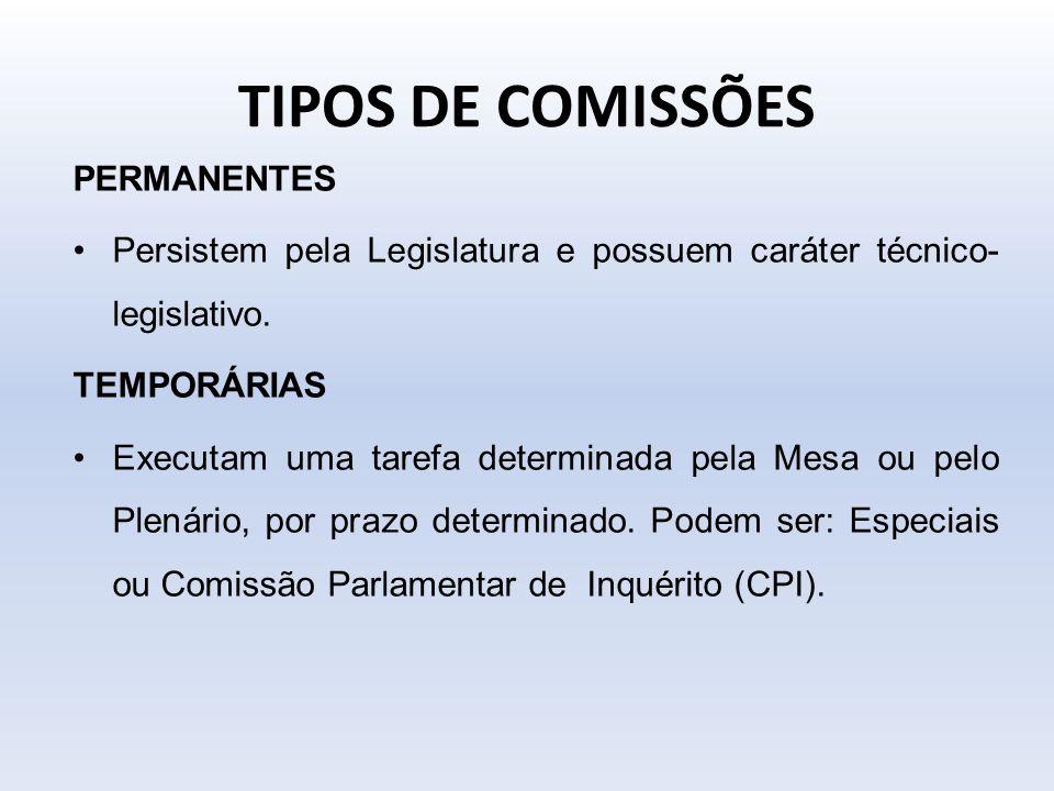 TIPOS DE COMISSÕES PERMANENTES Persistem pela Legislatura e possuem caráter técnico- legislativo. TEMPORÁRIAS Executam uma tarefa determinada pela Mes