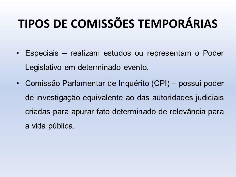 TIPOS DE COMISSÕES TEMPORÁRIAS Especiais – realizam estudos ou representam o Poder Legislativo em determinado evento. Comissão Parlamentar de Inquérit