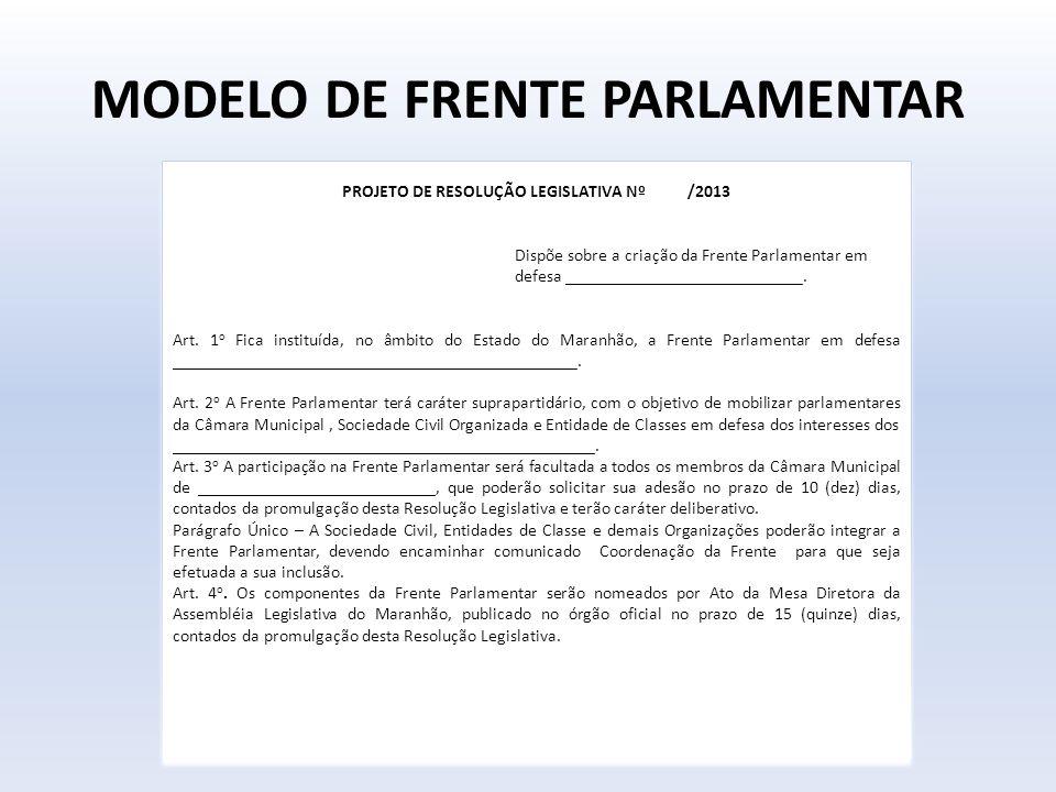 MODELO DE FRENTE PARLAMENTAR PROJETO DE RESOLUÇÃO LEGISLATIVA Nº /2013 Dispõe sobre a criação da Frente Parlamentar em defesa ________________________