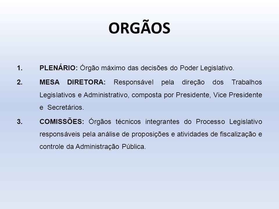 ORGÃOS 1.PLENÁRIO: Órgão máximo das decisões do Poder Legislativo. 2.MESA DIRETORA: Responsável pela direção dos Trabalhos Legislativos e Administrati