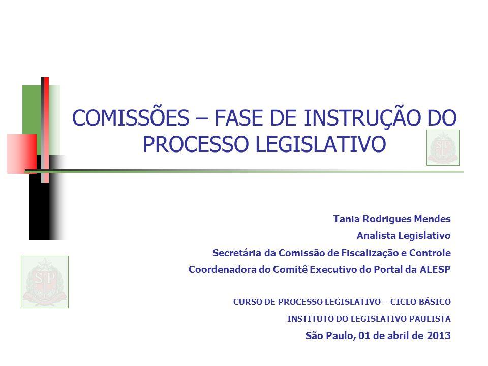 COMISSÕES – FASE DE INSTRUÇÃO DO PROCESSO LEGISLATIVO Tania Rodrigues Mendes Analista Legislativo Secretária da Comissão de Fiscalização e Controle Co