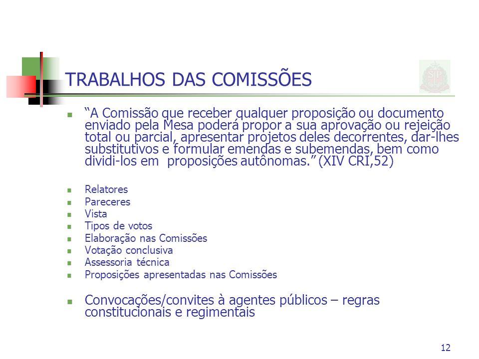 12 TRABALHOS DAS COMISSÕES A Comissão que receber qualquer proposição ou documento enviado pela Mesa poderá propor a sua aprovação ou rejeição total o