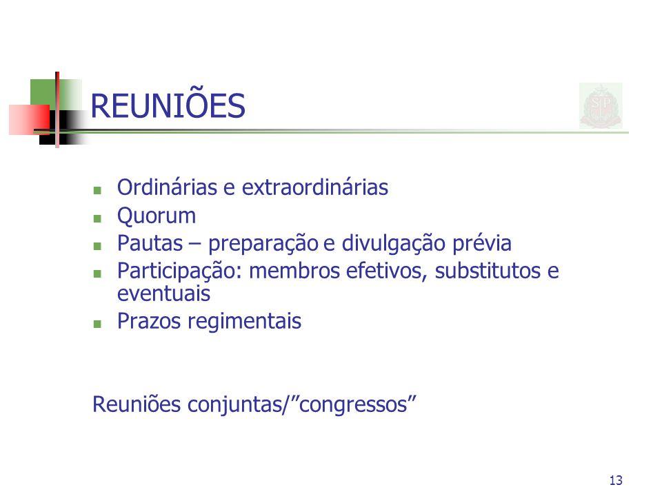 REUNIÕES Ordinárias e extraordinárias Quorum Pautas – preparação e divulgação prévia Participação: membros efetivos, substitutos e eventuais Prazos re