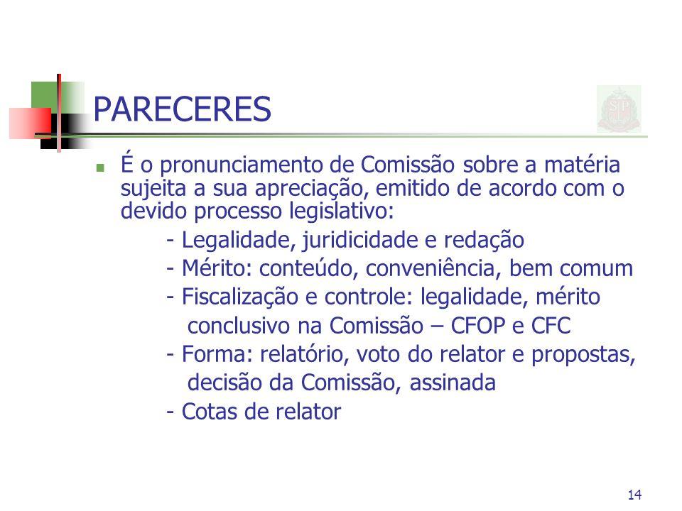 PARECERES É o pronunciamento de Comissão sobre a matéria sujeita a sua apreciação, emitido de acordo com o devido processo legislativo: - Legalidade,
