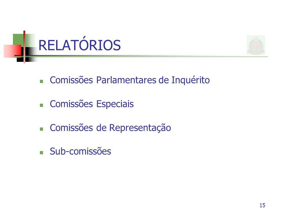 RELATÓRIOS Comissões Parlamentares de Inquérito Comissões Especiais Comissões de Representação Sub-comissões 15