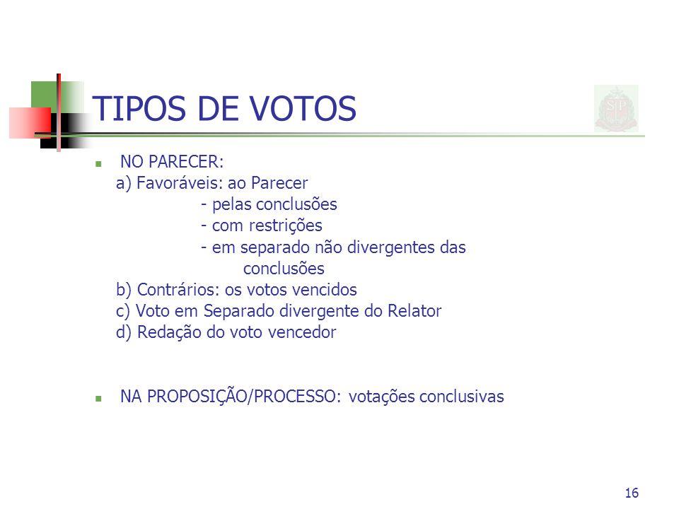 TIPOS DE VOTOS NO PARECER: a) Favoráveis: ao Parecer - pelas conclusões - com restrições - em separado não divergentes das conclusões b) Contrários: o