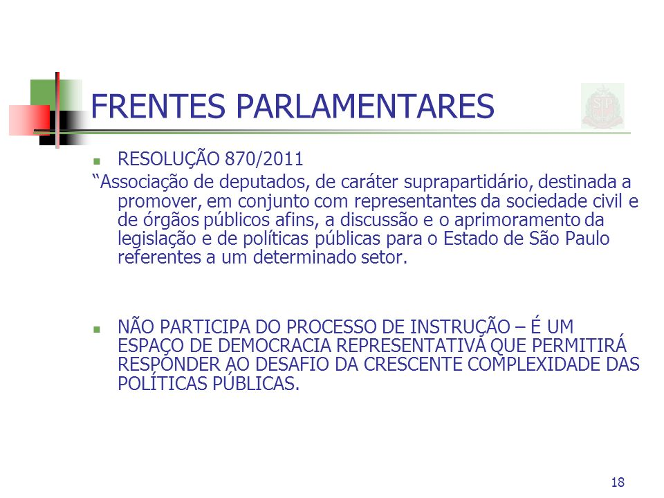 FRENTES PARLAMENTARES RESOLUÇÃO 870/2011 Associação de deputados, de caráter suprapartidário, destinada a promover, em conjunto com representantes da