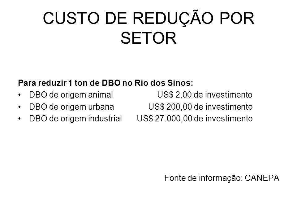 CUSTO DE REDUÇÃO POR SETOR Para reduzir 1 ton de DBO no Rio dos Sinos: DBO de origem animal US$ 2,00 de investimento DBO de origem urbana US$ 200,00 d