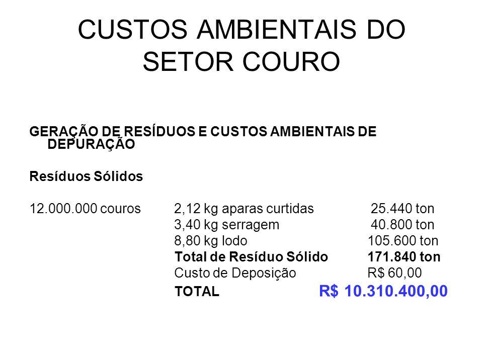 CUSTOS AMBIENTAIS DO SETOR COURO GERAÇÃO DE RESÍDUOS E CUSTOS AMBIENTAIS DE DEPURAÇÃO Resíduos Sólidos 12.000.000 couros2,12 kg aparas curtidas 25.440