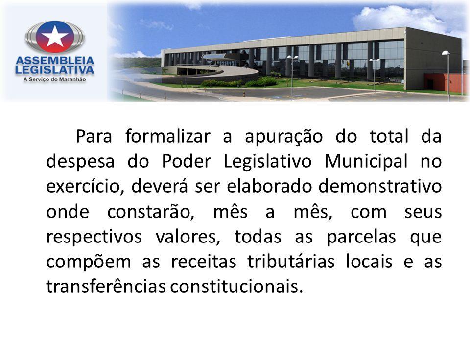 Para formalizar a apuração do total da despesa do Poder Legislativo Municipal no exercício, deverá ser elaborado demonstrativo onde constarão, mês a m