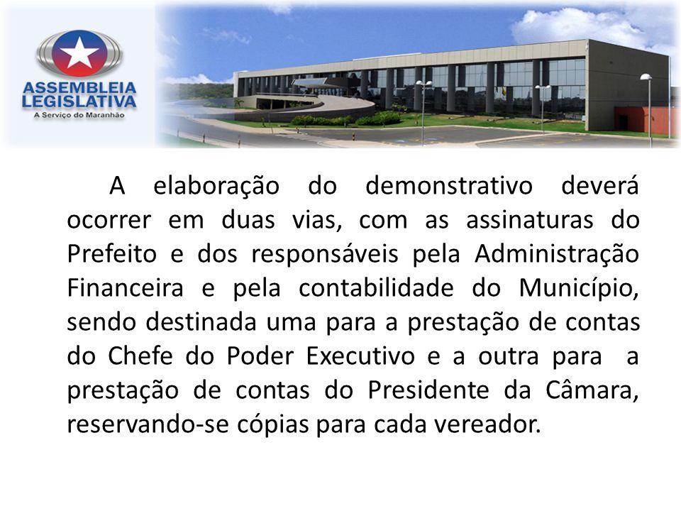 A elaboração do demonstrativo deverá ocorrer em duas vias, com as assinaturas do Prefeito e dos responsáveis pela Administração Financeira e pela cont