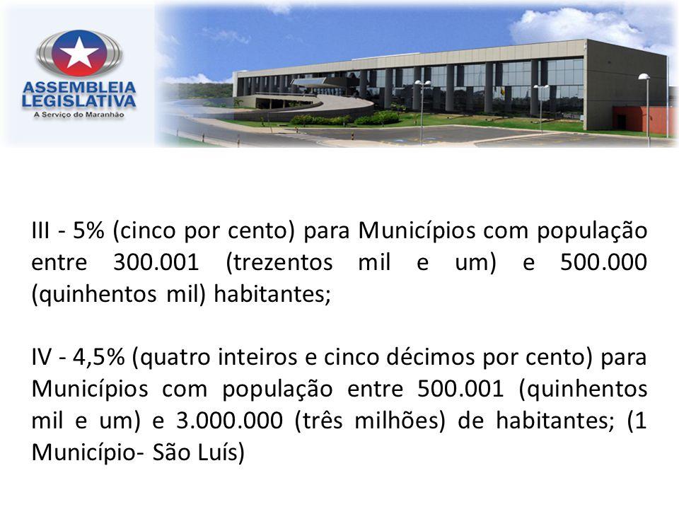 III - 5% (cinco por cento) para Municípios com população entre 300.001 (trezentos mil e um) e 500.000 (quinhentos mil) habitantes; IV - 4,5% (quatro i