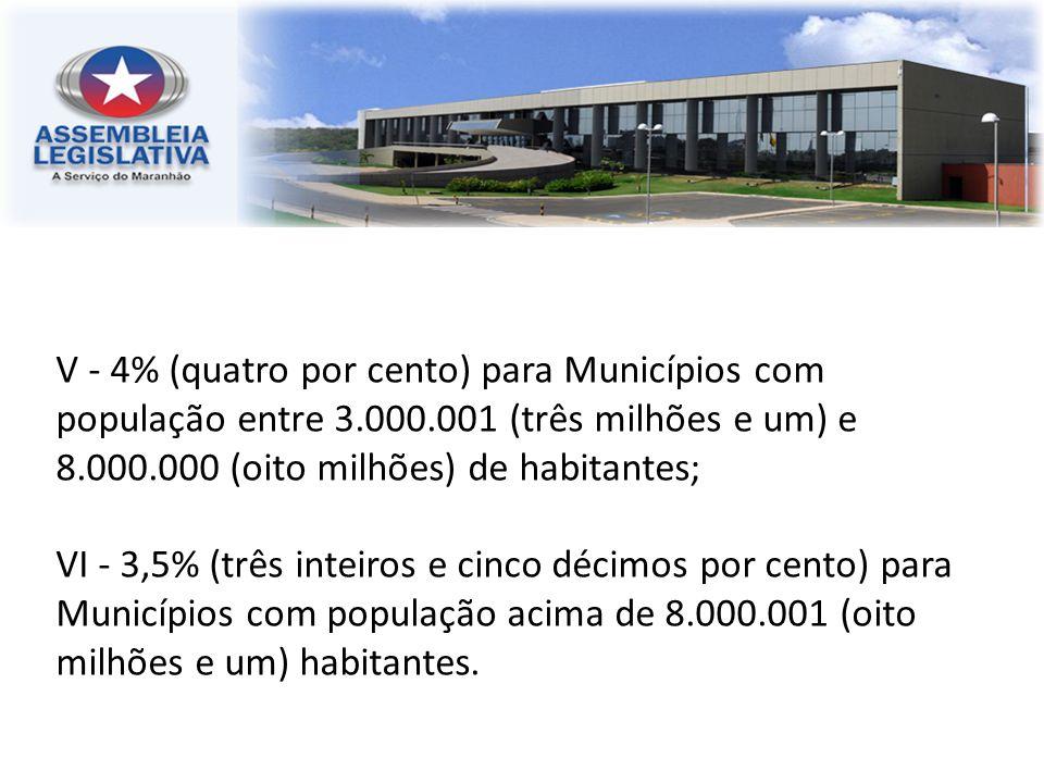 V - 4% (quatro por cento) para Municípios com população entre 3.000.001 (três milhões e um) e 8.000.000 (oito milhões) de habitantes; VI - 3,5% (três