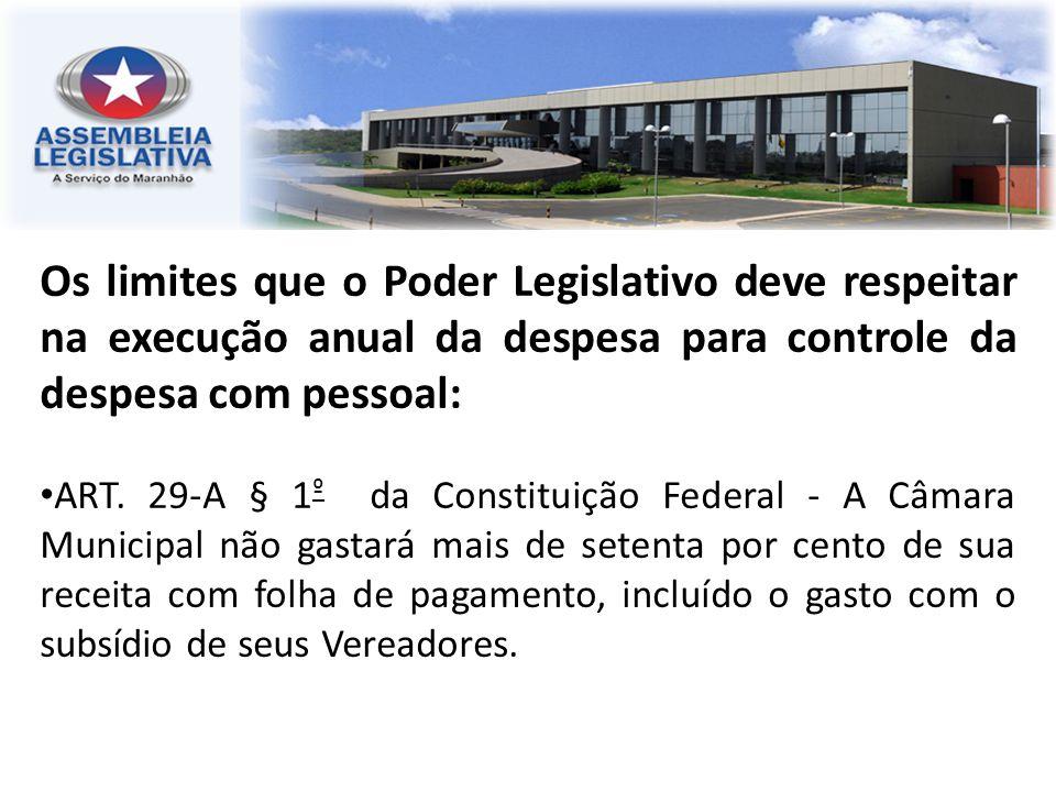 Os limites que o Poder Legislativo deve respeitar na execução anual da despesa para controle da despesa com pessoal: ART. 29-A § 1 º da Constituição F