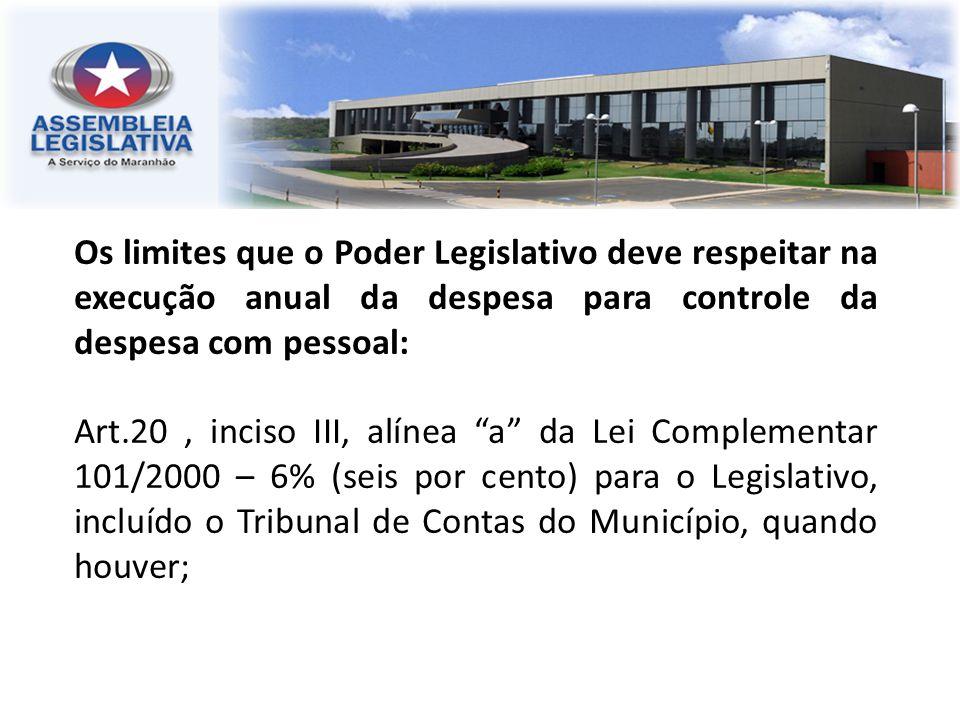 Os limites que o Poder Legislativo deve respeitar na execução anual da despesa para controle da despesa com pessoal: Art.20, inciso III, alínea a da L