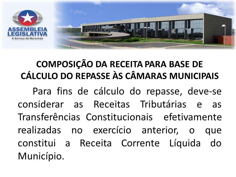 COMPOSIÇÃO DA RECEITA PARA BASE DE CÁLCULO DO REPASSE ÀS CÂMARAS MUNICIPAIS Para fins de cálculo do repasse, deve-se considerar as Receitas Tributária